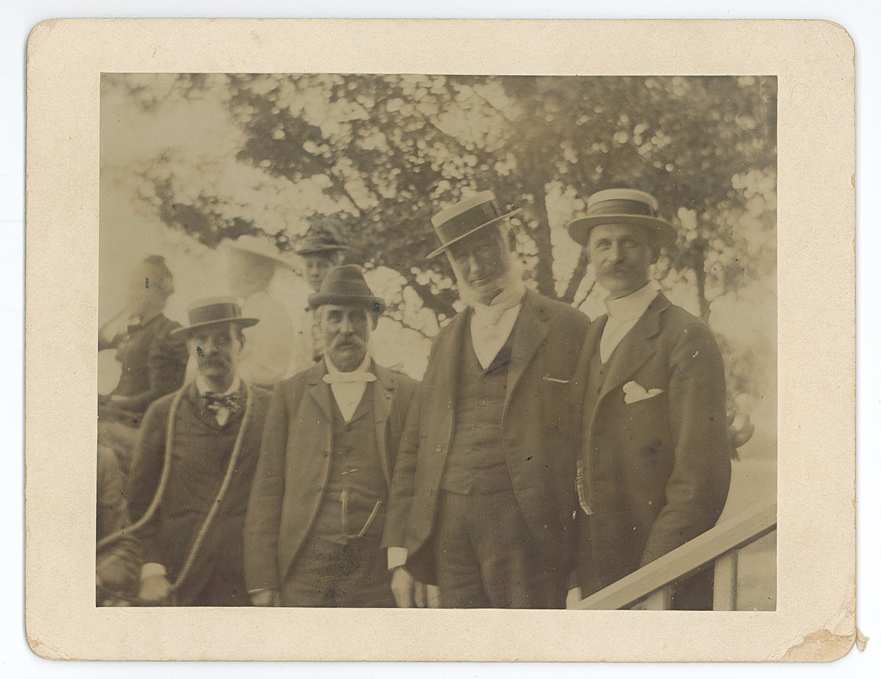 From left to right: Mrs. Morrill, Mr. Rutgers, unidentified man, Major Ashley Morrill, and M.M. Williams, July 4, 1893.