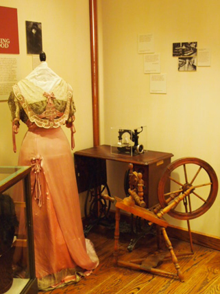 Laura Tanner Davidson's 1890s satin ball gown on exhibit at the Weyerhaeuser Museum, 2011.