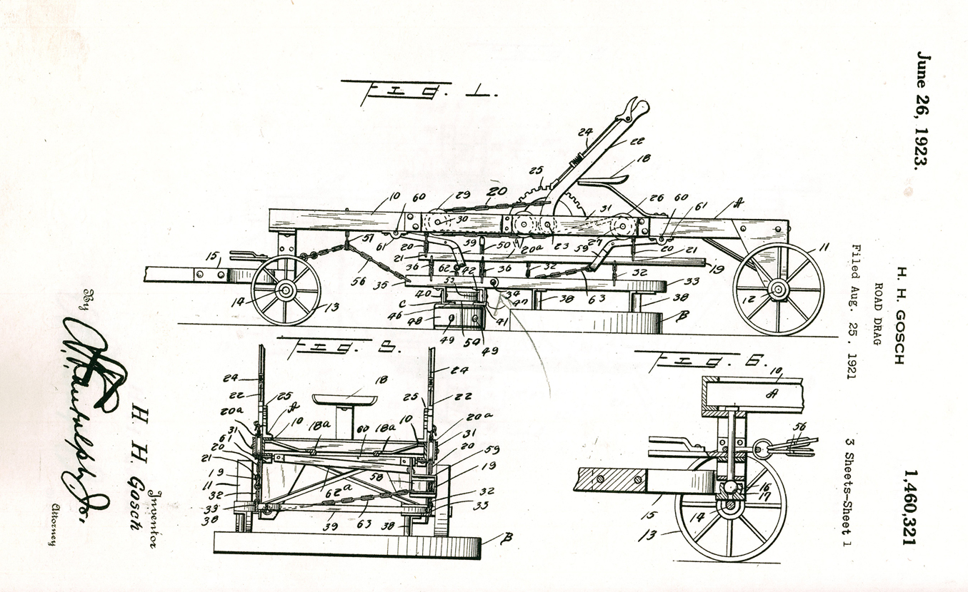 Patent drawing of Hans Gosch's road drag factory, Morrison County Historical Society collections, #1971.6.6.Cc.