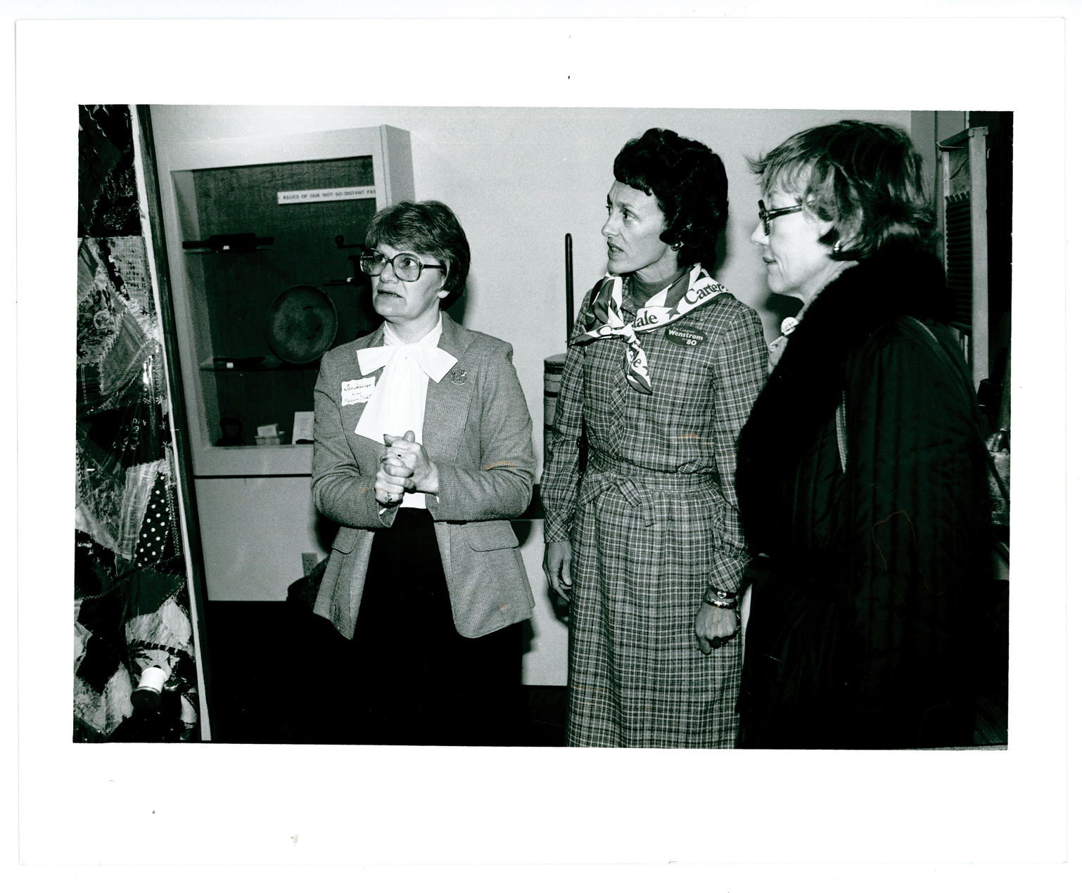 Joan Mondale's visit to The Charles A. Weyerhaeuser Memorial Museum, October 1980. Joan is in the center. Jan Warner, executive director of the museum is on the left side of the picture. The woman on the right is unidentified. MCHS Collections #1981.3.2.