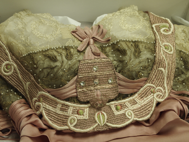 The bodice of the Laura Tanner Davidson ball gown, February 9, 2012.