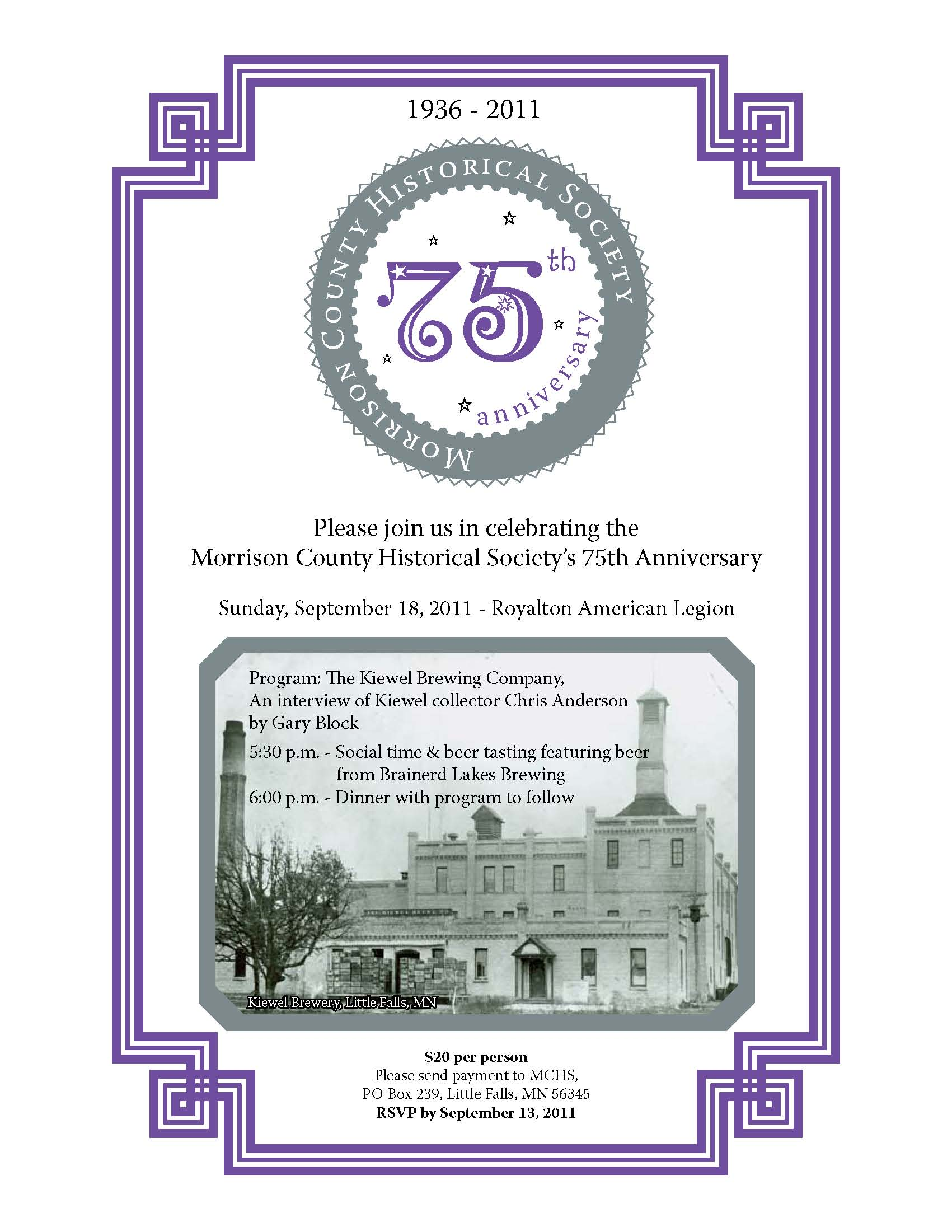 75th Anniversary Dinner of MCHS to feature Kiewel Brewing Company history, September 18, 2011.