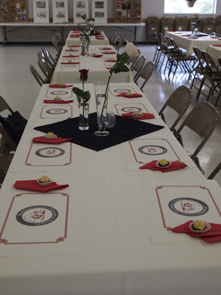 The tables decorated in Kiewel colors, MCHS 75th anniversary celebration, Royalton American Legion, September 18, 2011.