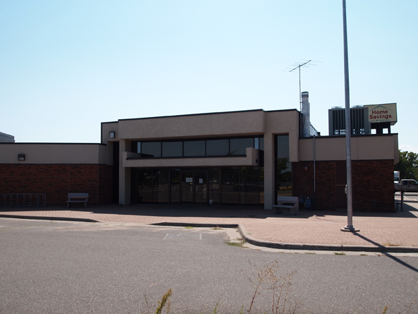 The north side of Home Savings of America, Little Falls, MN, August 28, 2012. Photo by Mary Warner.