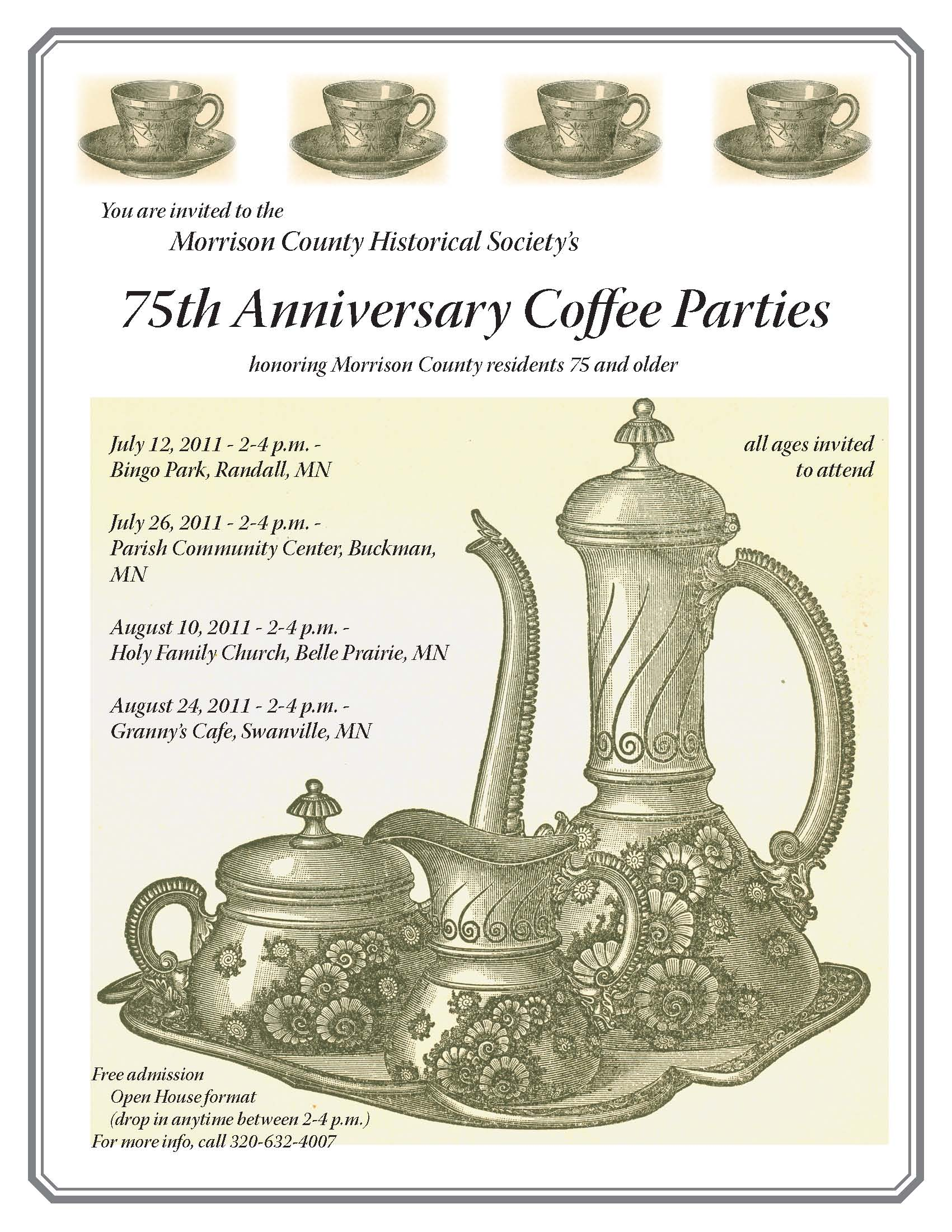 Morrison County Historical Society Coffee Party Flyer, 2011