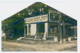 Little Falls Granite Works, 24 East Broadway, Little Falls, MN, c. 1917 or 1918. Donated to MCHS Collections by John Karlson, son of G.W. Karlson, founder of the Little Falls Granite Works in 1911.