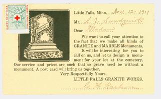 Little Falls Granite Works postcard, back, addressed to A.J. Sundquist from G.W. Karlson, December 12, 1917.