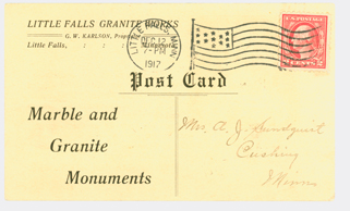 Little Falls Granite Works postcard, front, addressed to A.J. Sundquist from G.W. Karlson, December 12, 1917.