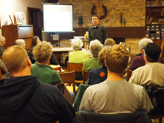 Anton Treuer speaking to an audience at the Morrison County Historical Society, November 17, 2010.