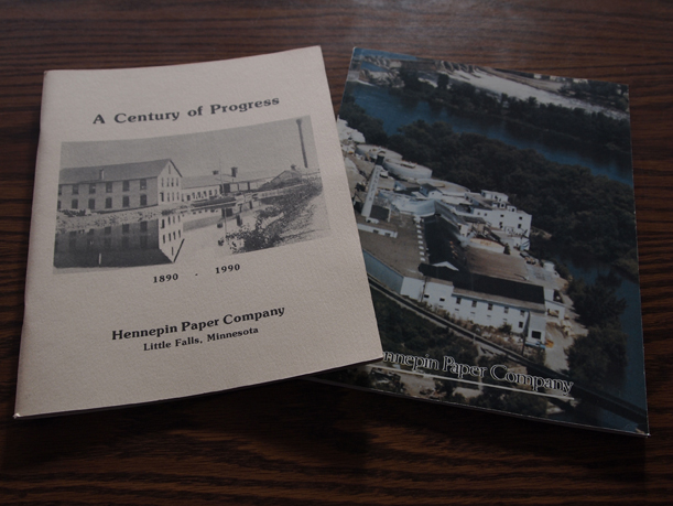 A Century of Progress, Hennepin Paper Company, 1890-1990, by Bruce Mellor. Two covers. Cream color (left) includes text and historic photos; colored cover (right) includes text, historic photos, and a section of photos of Hennepin Paper Mill employees. $5.00, either version.