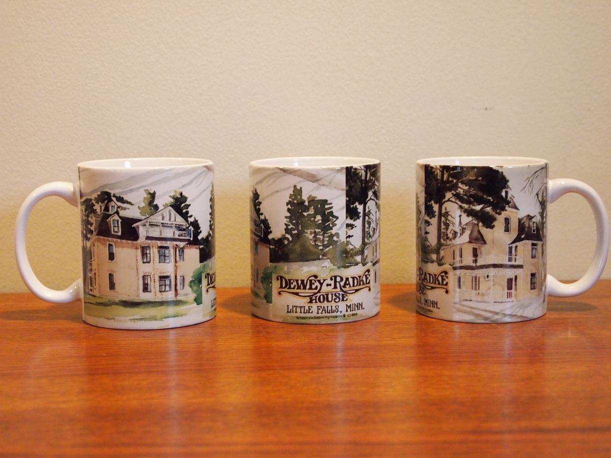 Dewey-Radke House mug, 3 views showing how the image wrap around the mug, 2011