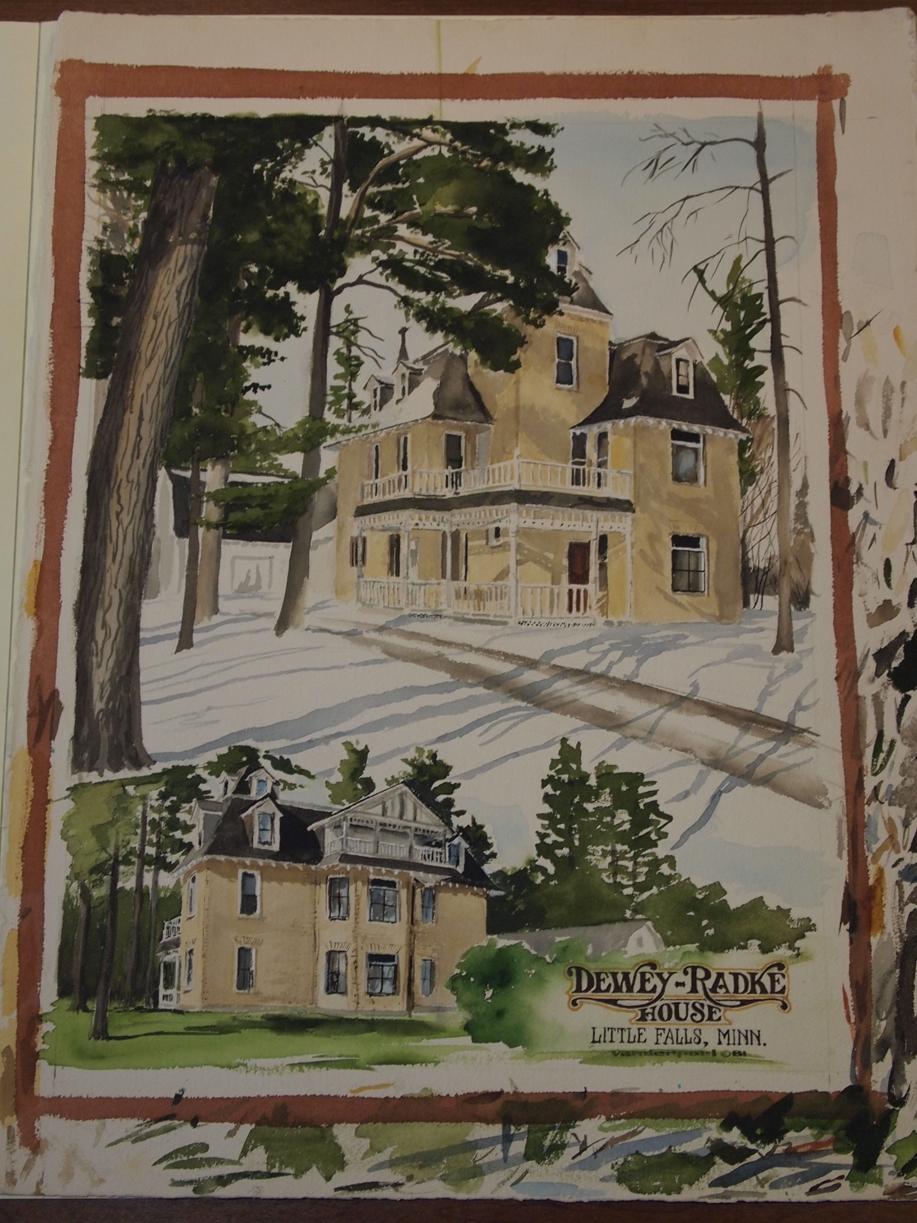 Dewey-Radke House, watercolor by Dennis Vanderpoel, 1981