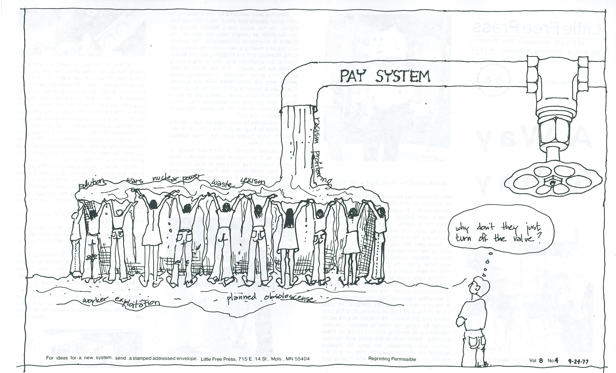 An illustration of Ernest Mann's Priceless Economic System. If workers stopped working for pay (i.e. turned off the faucet), society would be better off. Illustration by Carol Gatts for the Little Free Press, Vol. 8, No. 4, Sept. 24, 1977, by Ernest Mann.