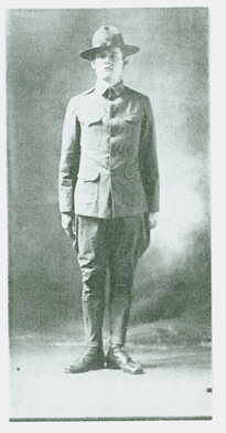 G.W. Karlson, founder of the Little Falls Granite Works in 1911. He is shown here as a member of the Home Guard in World War I. Original photo owned by Harriet Karlson.