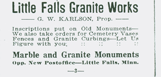 Little Falls Granite Works ad