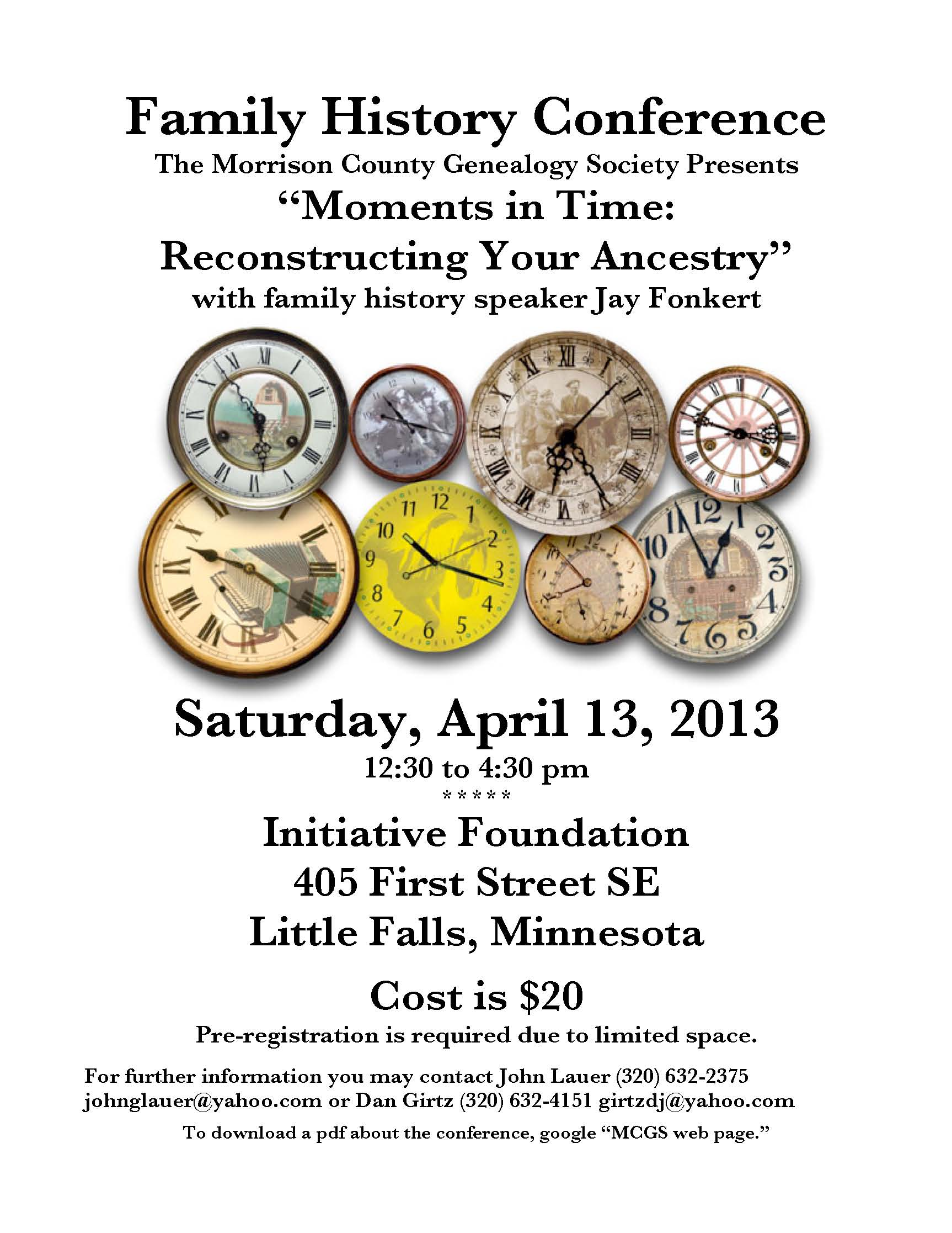 Poster for MCGS Family History Conference, April 2013