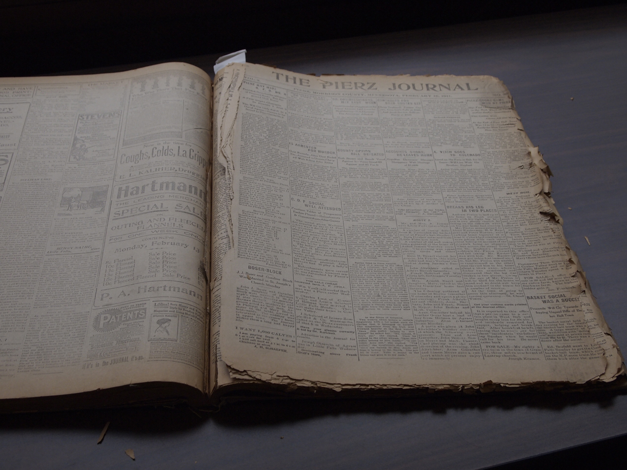 One of the fragile bound volumes of Pierz Journals at the Morrison County Historical Society, November 2011.