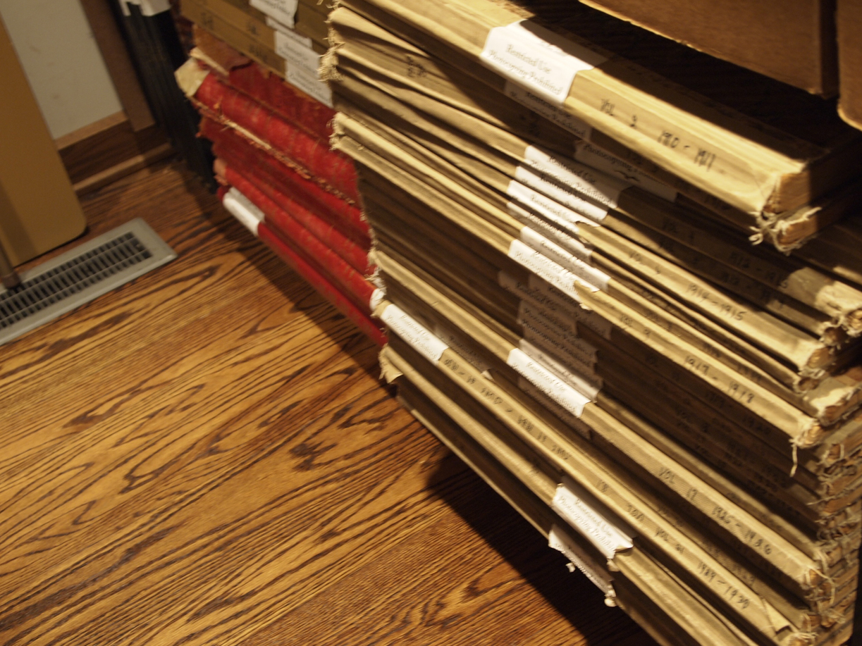 The collection of Pierz Journals at the Morrison County Historical Society, November 2011.