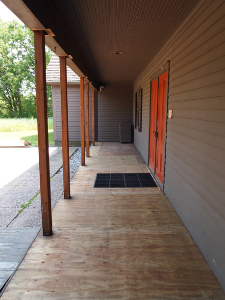 A full-length view of the stripped porch, July 3, 2012.