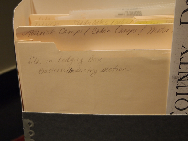 A way-finding note that tells researchers and staff where to return the file, MCHS Collections, December 5, 2012.