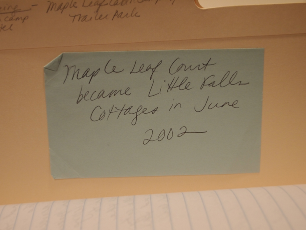 A way-finding note that provides critical historic information, MCHS Collections, December 5, 2012.