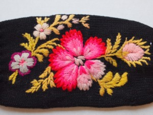 Black Mittens with Embroidered Flowers - MCHS Collections, #1966.15.2
