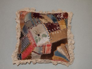 Crazy-quilt pin cushion - MCHS Collections, #1953.31.8