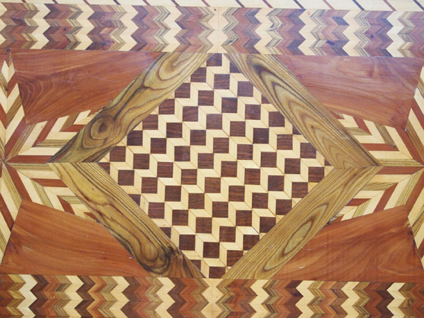 Wood inlay table, on loan from the Smuda family