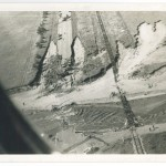 Aerial view showing Highway 371 washout, 1972 Flood, Morrison County, Minnesota. Photo by Gene Dubois for the Little Falls Daily Transcript. From the Morrison County Historical Society collections.