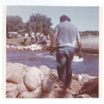 Sandbagging across Highway 371, Little Falls, 1972 Flood, Morrison County, Minnesota. Photo by Sister Karen Rausch. From the Morrison County Historical Society collections, #1977.57.1.x.