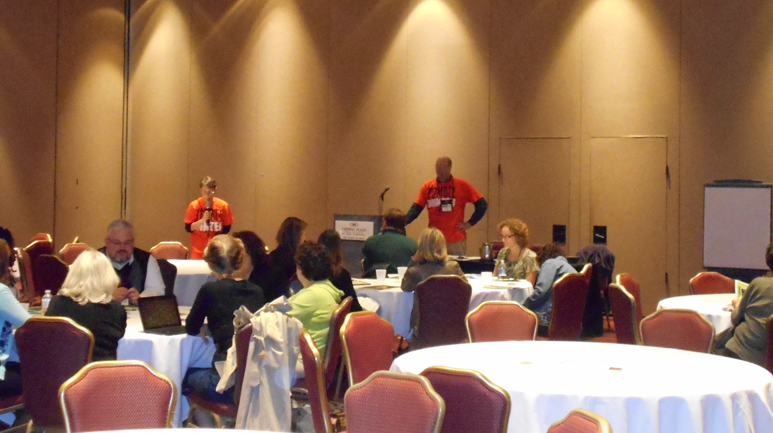 Mary Warner, Morrison County Historical Society & Mike Worcester, Cokato Museum & Akerlund Studio, presenting Zombie Attack at the AASLH Conference in St. Paul, September 19, 2014. Ann Marie Johnson, our partner in crime, took the photo.