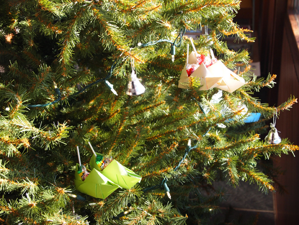 Close-up of Christmas tree decorated with origami shoes, Morrison County Historical Society, 2014.
