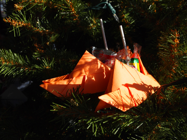 Origami shoes on Christmas tree, Morrison County Historical Society, 2014.