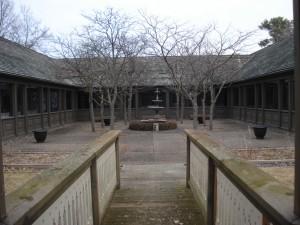 The Weyerhaeuser Museum courtyard as seen from the gazebo.