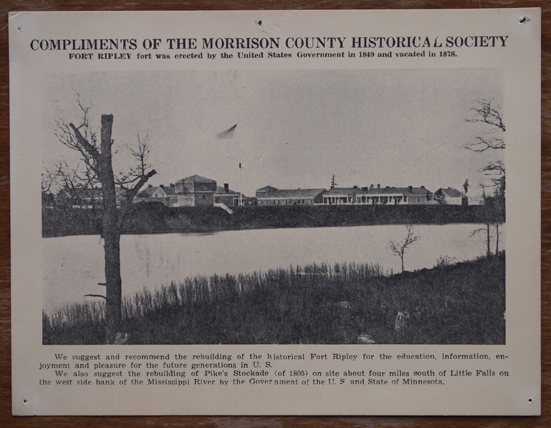 Flier produced by Morrison County Historical Society to encourage rebuilding of Old Fort Ripley.