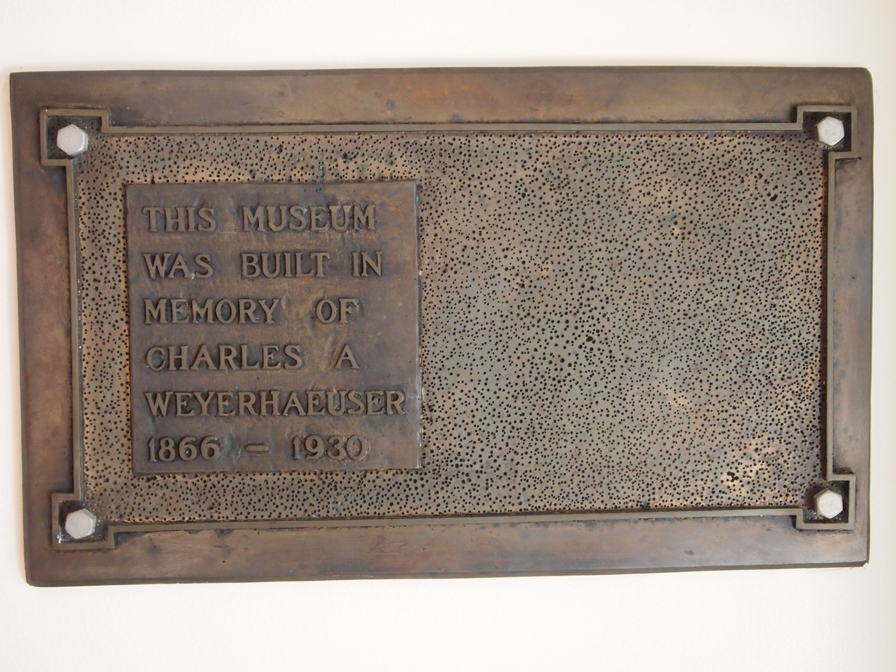 Dedication plaque designed by Tad Jensen for The Charles A. Weyerhaeuser Memorial Museum.