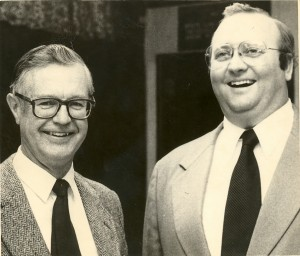 Architect Foster Dunwiddie (left) with Little Falls lawyer Greg Larson, 1982.