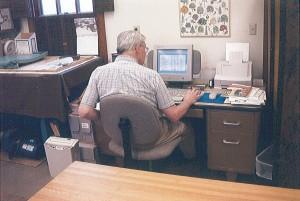 Art at Work! Art Warner, MCHS Board President. Photo taken 1999.
