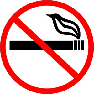 No Smoking symbol by Akrabbim, Creative Commons Attribution-ShareAlike 3.0 license,  http://en.wikipedia.org/wiki/File:No_smoking_symbol1.png.