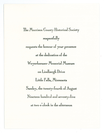 Invitation to dedication ceremony of The Charles A. Weyerhaeuser Memorial Museum, August 24, 1975.