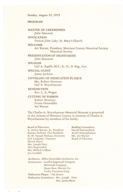 Program for dedication ceremony of The Charles A. Weyerhaeuser Memorial Museum, August 24, 1975.