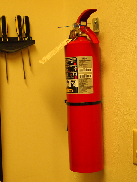 One of the many fire extinguishers at the Weyerhaeuser Museum.