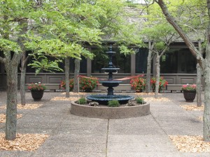 Weyerhaeuser Museum - 40th anniversary - August 2015 - The fountain awaiting the ribbon cutting.