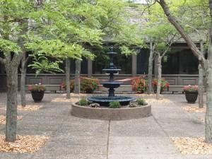 Weyerhaeuser Museum - 40th anniversary - August 2015 - The fountain awaiting the ribbon cutting.