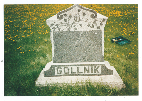 Photo of William Gollnik's grave stone in Willow Cemetery, Elmdale Township, Morrison County, MN. MCHS collections, photo in Willow Cemetery file folder.
