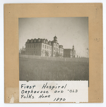 "First hospital, orphanage and ""Old Folks"" home, Little Falls, MN, c. 1890-1897. The building in the foreground is now (2015) called Hurrle Hall and is part of the campus of the Franciscan Sisters of Little Falls. #1938.11.4y"