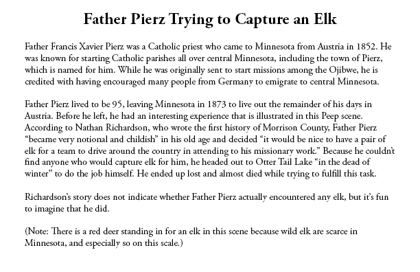 Sample of exhibit label for Peep diorama of Father Pierz Trying to Capture an Elk