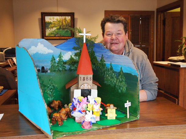 """Marlys Sebasky and her Peep Contest entry, """"Peepalo go to Church and Mama said """"Bison."""""""" April 4, 2016."""