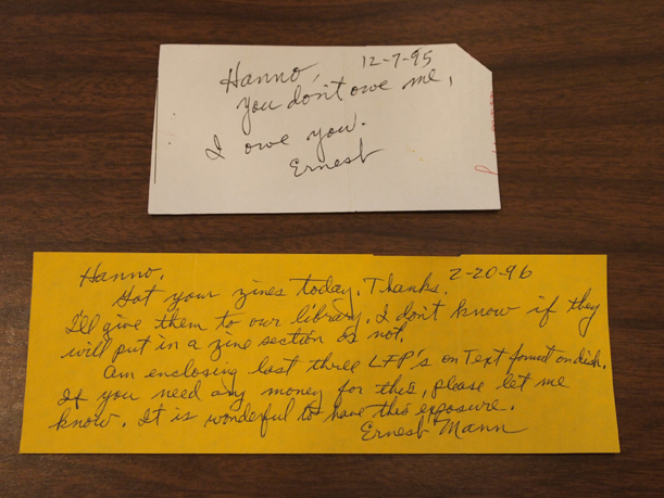 Handwritten notes from Ernest Mann to Hanno Beck, from the Ernest Mann collection donated by Hanno Beck of the Banneker Center to the Morrison County Historical Society. Photo by Mary Warner, June 28, 2016.