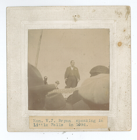 Presidential candidate William Jennings Bryan speaking in Little Falls, MN, October 13, 1896. Photo by  George W. Harting. MCHS collections #0000.0.166.
